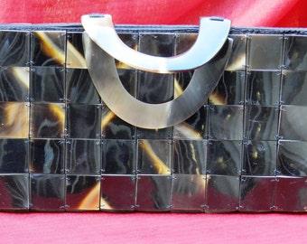 Vintage Plastic Square Faux Shell Purse     00337