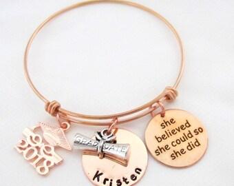 Graduation 2018 Personalised Engraved Charm Bracelet Women's - Gift Boxed bsdQ55SL