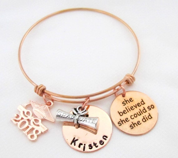 Personalized Graduation Bangle,Class of 2018,Gift for her,She Believed She Could,Graduation Gift,Graduation Degree and Cap,Free Shipping USA