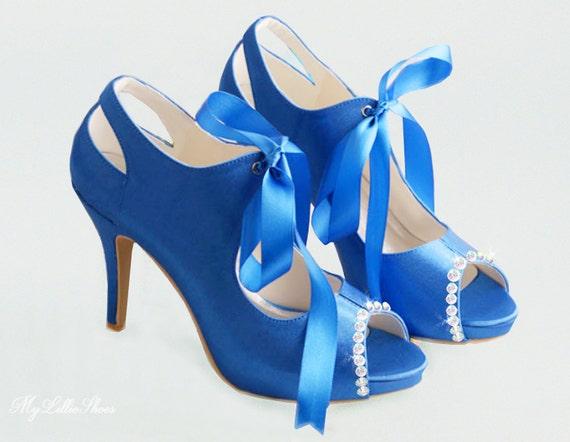 satin high blue Wedding Shoes Something toe Bride bridal peep shoes ~ Customised shoes shoes of embellished ~ Mother blu Royal heels the qtqvE0wB
