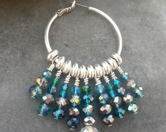 Summer hoops with blue glass beads