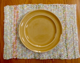 Handwoven Pastel Rag Placemats, Priced Individually, PL08