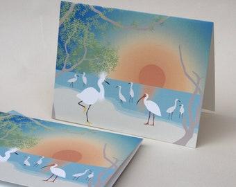 Egret Note Cards, Teal Blue Bird Ibis Egret Beach Stationery Set Sunset Ocean Tropical Florida Orange Stationary Set