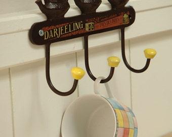 Vintage Shabby Chic Style Cast Iron Tea Pot Design Kitchen Hook Rack