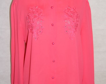 Vintage 1970s Ladies Pink Sheer Shirt Blouse with Floral Embroidery Detail - Size 14