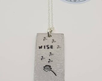 Wish necklace, dandelion necklace, sterling silver chain, mothers day,