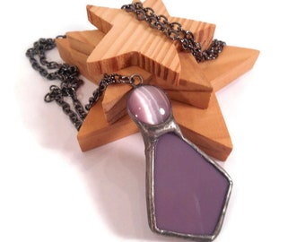 Mauve Pendant Stain Glass Necklace Handmade Jewelry Glass Metal Jewelry Cats Eye Necklace Purple Jewelry Mauve Glass Necklace Glass Jewelry