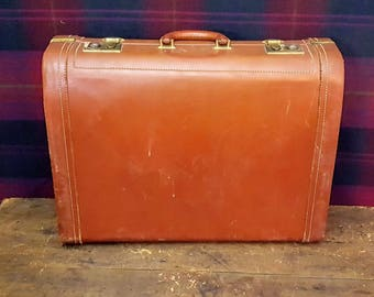 Vintage Brown Leather 1940's Suitcase