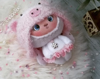 plush Bunny toy handmade white Bunny rabbit piggy