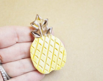 Handpainted Ceramic Pineapple tag or ornament