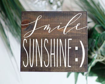 Smile sunshine | wood sign | Hand Painted | home decor | Wall art | faith | Motivational sign