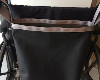 Wheelchair bag, wheelchair tote, black faux leather