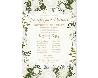 Wedding Program Sign - Vintage Wedding - Floral Wedding - Printable Program Sign - Vintage Sign - Wedding Sign - Welcome Program Sign #CL120