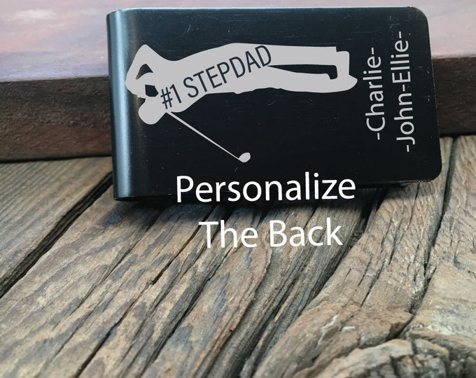 Personalized #1 Stepdad Golfer Money Clip Gift For The Stepdad Who Loves Golfing Fathers Day Gift Custom Wallet #1 Stepdad Money Clip Gift