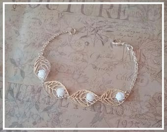 Chain bracelet, 925 Silver with resin flowers and charms