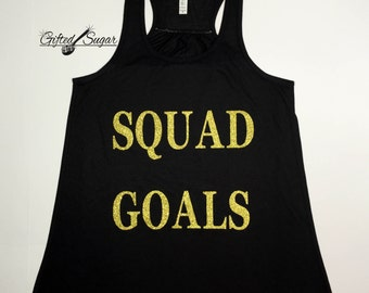 Squad Goals, Funny Workout Tank, Racer Back Tank, Workout, Fitness, Gym