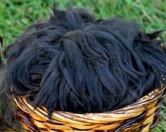 2 oz, True Black Suri Alpaca Fiber