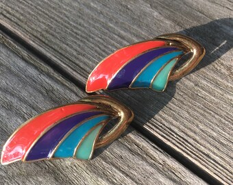 Super Awesome So 80's Rainbow Enamel Wing Earrings Post backs