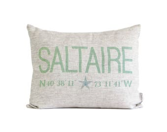 Customized Coordinates Name Pillow, Latitude Longitude, Home Coordinates Pillows, Beach Home Decor, Coastal Decor, With Starfish or Heart