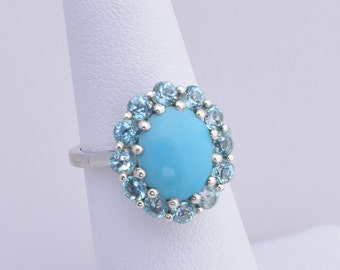 Arizona Sleeping Beauty Turquoise (2.55 ct), Signity Turquoise Blue Topaz  Ring in Platinum Over 925 Sterling Silver; TGW 3.75 cts.
