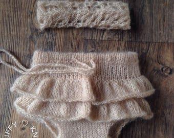 Ballerina Panties - Newborn Panties - Bloomers with Ruffles and matching Headband- Newborn Props-Shorts