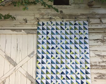 Quilt in Blues and Greens, Queen Quilt top, handmade quilt,