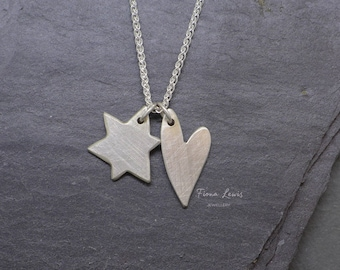 Love My Quirky Star sterling silver pendant on a 925 spiga chain Fiona Lewis hand made in UK