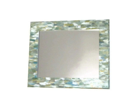 Green Beach themed bathroom Mirror Seaglass colored mirror