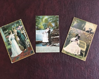 3 More Romantic Vintage Postcards