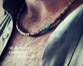 Mens beaded necklace. Mens surfer necklace.Surfer necklace. Mens coco shell necklace. Mens turquoise necklace.Bohemian men's necklace.
