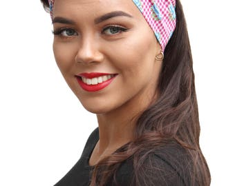 Pink Gingham Blue Flower Land Girl Rockabilly Pinup 50s Style Head Scarf