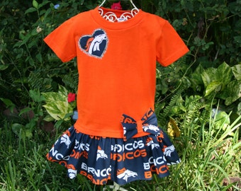 Baby Girl  2T  DENVER  Broncos Tshirt Dress Infant Toddlers Childrens Clothes School Game Day Football Dresses Fan Appareal Tailgating