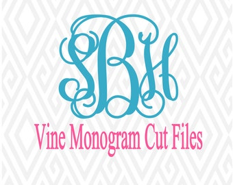 Bold Vine Monogram Cut Files/Font; Cuttable Design in SVG; DXF; AI; Eps