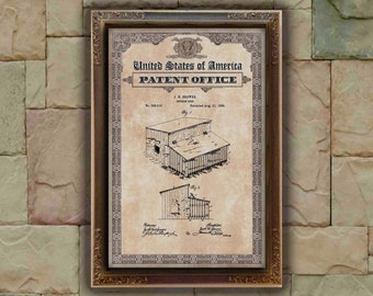 Chicken coop Patent Print, Chicken coop Gift, Chicken coop Patent Print, Wall Decor, Patent Decor, Chicken coop Decor, Chicken coop Art