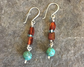 Turquoise and Amber Dangle Earrings, Kinetic Earrings, Sterling Silver, Earrings under 50, Made in Tahoe, December Birthstone, Lightweight