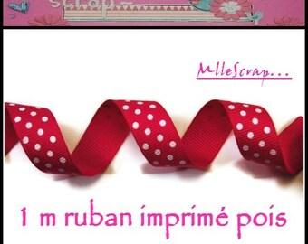 1 meter Ribbon grosgrain pink dark polka dot embellishment scrapbooking