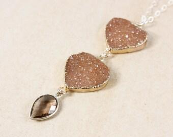 50% OFF SALE - Silver Brown Druzy & Smokey Quartz Necklace - Long Druzy Necklace