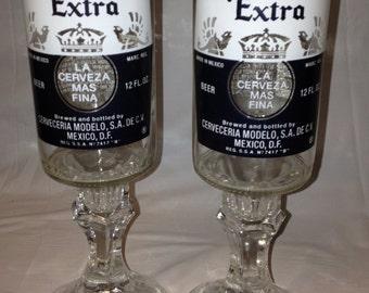 Corona Beer Bottle Wine Glasses. Recycled Glass Bottles. Beer Glasses.