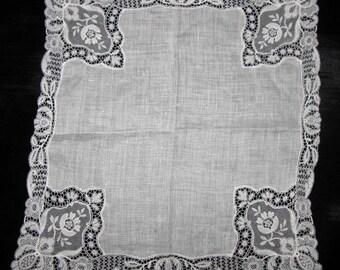 Handkerchief Antique Hanky, Lace Handkerchief Wedding Heirloom Hankie