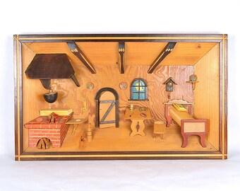 Vintage Diorama Hand Carved Wood Folk Art Shadowbox 3D Wall Hanging