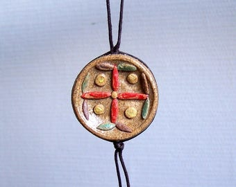 Multicolor in glazed stoneware pendant necklace