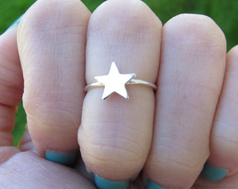 Sterling Silver Solid Star Knuckle Ring