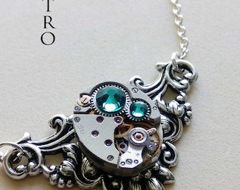 "Victorian  steampunk  necklace  ""Splendour"" zircon - steampunk jewellery - steampunk necklace -  Christmas gift"