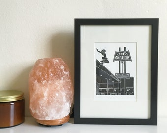 Culver Ice Rink, Framed Letterpress Print