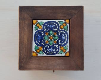 Mexican Tile Wood Trinket Box