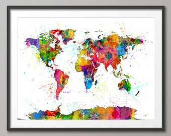 Watercolor Map of the World Map, Art Print (1151)