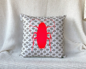 Neon pink contrary bug art throw pillow with dandelion fabric print background bug decor entomology on your couch insect decorative pillow