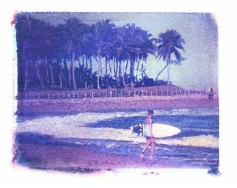 Surfer Girl and Palm Trees 8x10 inch Polaroid  Print