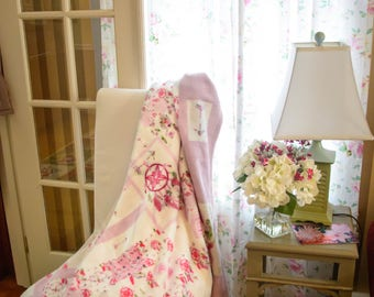 Throw Blanket, Blanket, Pink Watercolor Roses and dream catchers, patchwork throw