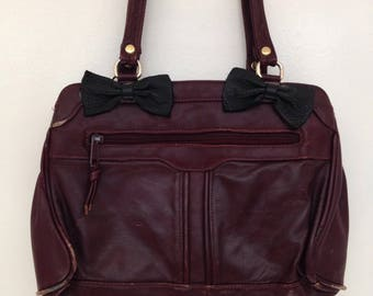 Vintage 1980s Burgundy Leather Purse with Black Bows